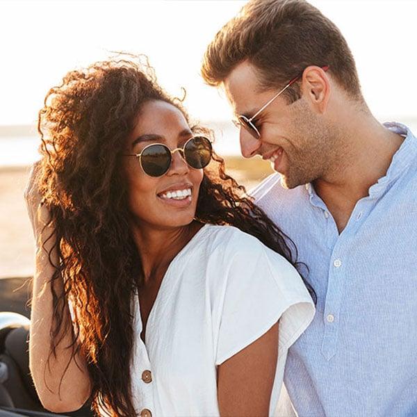 young hip couple enjoying the sunshine